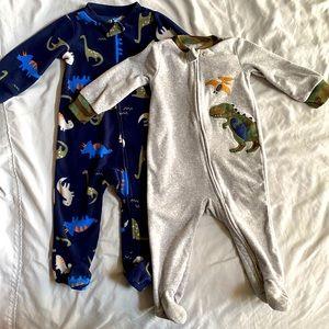 Carters 6-9M fleece zip-up footie bundle